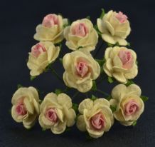 1.5cm OFF WHITE PINK CENTER Mulberry Paper Roses
